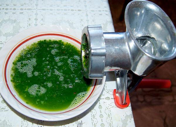 Если полученную мякоть повторно отжать через сито, получится достаточное количество сока.